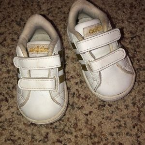 White and Gold toddler Adidas